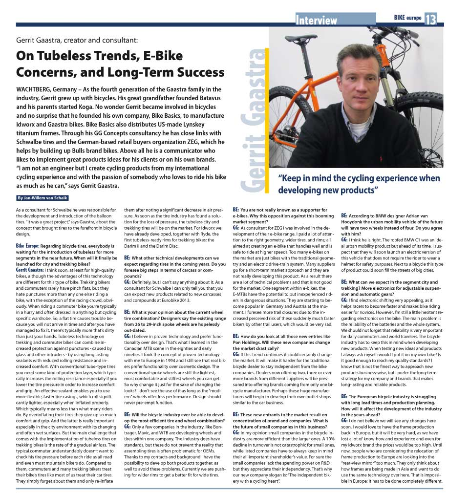 BIKE europe 12/12 Gerrit Gaastra Interview